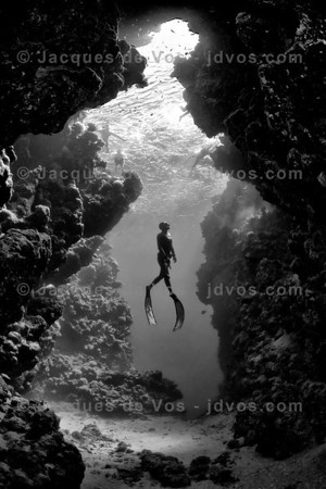 Lady Of The Deep  - GOLD WINNER: OUR WORLD UNDERWATER 2012 -  Ikelite 7D Housing (8'' Dome Port) Ikelite DS-161 Strobes  Italian record Freediver Linda Paganelli ascending infront of a cave in the Ras Mohammed National Park just south of Sharm El Sheikh in Egypt.  Shot taken while Freediving
